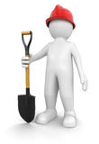 Man and Shovel (clipping path included) Stock Photo