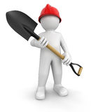 Man and Shovel (clipping path included) Royalty Free Stock Image