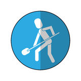 Man shovel digging work construction-blue circle shadow Royalty Free Stock Photography