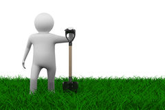 Man with shovel on grass stock illustration
