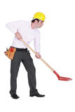 Man with shovel Royalty Free Stock Photography