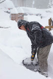 Man Shovel Snow Blizzard VA Winter Royalty Free Stock Images