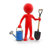 Man with Shovel and Watering Can (clipping path included) Stock Photos