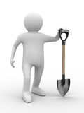 Man with shovel on white background Stock Photography