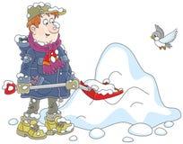 Man shoveling snow stock illustration