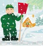 Man shoveling snow. Illustration Stock Photography
