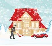 Man shoveling snow on winter landscape. Vector Illustration Royalty Free Stock Images