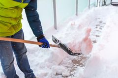 Free Man Shoveling The Show On The Terrace Royalty Free Stock Image - 84359616