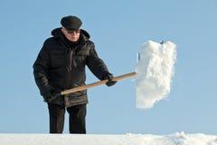 Man shovelling snow Stock Images