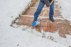 Man shovelling snow from the sidewalk 2 Royalty Free Stock Image