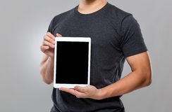 Man show with blank screen of digital tablet Royalty Free Stock Photo