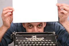 Man show blank sheet 2 Royalty Free Stock Photo
