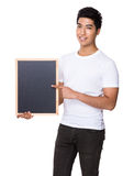 Man show with chalkboard Stock Images