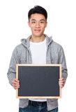 Man show with chalkboard Royalty Free Stock Image