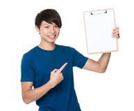 Man show with clipboard. Isolated on white background Royalty Free Stock Image