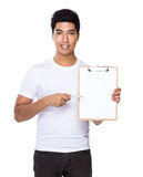 Man show with clipboard. Isolated on white background Stock Photography