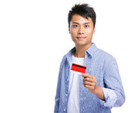 Man show credit card Royalty Free Stock Photos