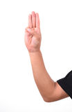 Man show 3 finger for anti dictator Royalty Free Stock Photo