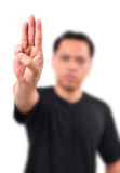 Man show 3 finger for anti dictator Stock Photos