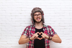 Man Show Heart Shape Finger Gesture Hipster Fashion Style Stock Photo
