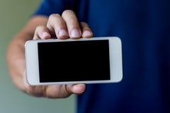 Man show his smart phone Stock Photos