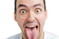 Man show his tongue Stock Photo