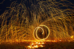 Free Man Show Swing Fire Stock Images - 90777744