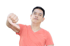 Man show thumb down on white background. Man show thumb down and unhappy face stock photo