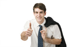 Man show the thumb up on white Stock Images