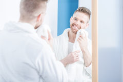 Man after shower Stock Photography