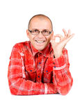 Man showing approval isolated on white. Background stock photos