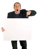 Man showing billboard. Man holding billboard and showing with finger royalty free stock photo