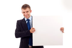Man showing a blank board Stock Photos