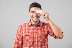 Man showing blank business card Stock Photos