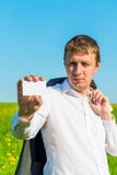 Man showing a blank card Stock Images