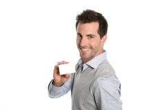 Man showing blank card in hands Stock Photos