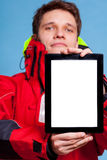 Man showing blank copy space tablet touchpad Royalty Free Stock Photo