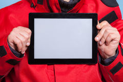Man showing blank copy space tablet touchpad Royalty Free Stock Image