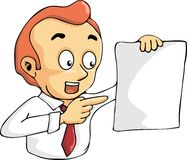 Man showing blank paper and pointing finger. Cartoon man showing blank paper and pointing finger Royalty Free Stock Images