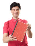 Man showing blank red book Royalty Free Stock Image