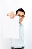 Man showing blank signboard Royalty Free Stock Image