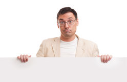 Man showing blank white billboard sign Stock Photos