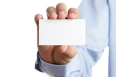 Man showing business card Royalty Free Stock Photos