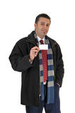 Man showing business card. Stock Photography