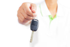 Man showing a car key Royalty Free Stock Photography