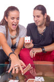Man showing card trick Royalty Free Stock Photo