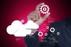Man showing cloud technology with gear. Digital illustration of man showing cloud technology with gear Stock Photo