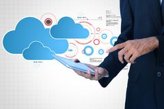 Man showing cloud technology with gear. Digital illustration of man showing cloud technology with gear Royalty Free Stock Images