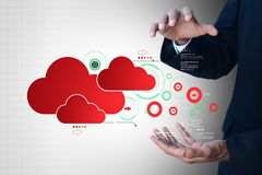 Man showing cloud technology with gear. Digital illustration of man showing cloud technology with gear Royalty Free Stock Photography