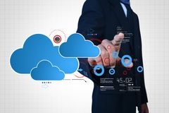 Man showing cloud technology with gear. Digital illustration of man showing cloud technology with gear Royalty Free Stock Photos